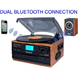 Boytone BT-22W, Bluetooth Record Player Turntable, AM/FM Radio, Cassette, CD Player, 2 built in speaker, Ability to convert Vinyl, Radio, Cassette, CD to MP3 without a computer, SD Slot, USB, AUX