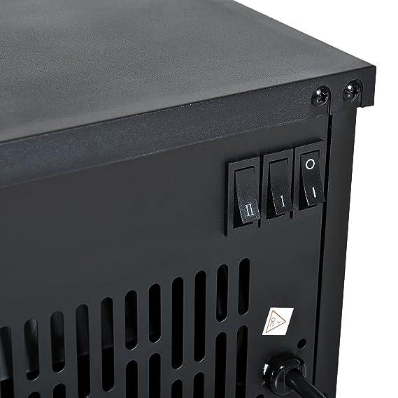 HOMCOM Chimenea Eléctrica Calefactor Tipo Estufa de Pie con Efecto de Leña Ardiendo 600W/1200W 34.5x17x31cm Metal Negro: Amazon.es: Hogar