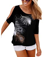 Flying Rabbit Women's Classic Loose Feather Printed Off Shoulder Top T-shirt Blouse Womens Summer Feather Print T Shirt Round Neck Off The Shoulder Tops Short Sleeve Blouse