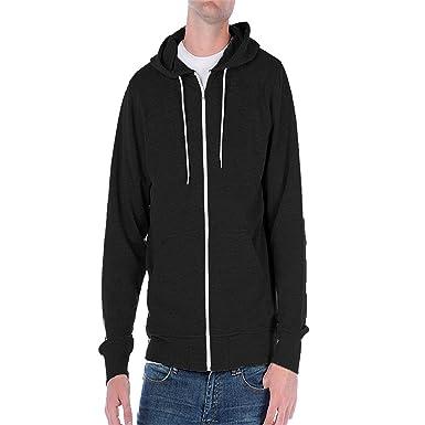 Felpa a giacca da uomo con cappuccio e zip, in tinta unita