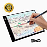 LED Light Box A4 Tracing Pad Ultra-Thin Artcraft Drawing Board, Stencil Tracing Tattoo Copy Table Pad with 3 Levels Brightness for Artists Drawing Sketching Animation X-ray Viewing