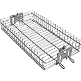 """only fire 6042 BBQ Stainless Steel Flat Spit Rotisserie Grill Basket for Any Grill, Fits 1/2"""" Hexagon, 3/8"""" Hexagon, 3/8"""" Squ"""