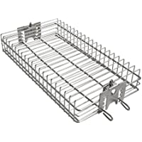 only fire 6042 BBQ Stainless Steel Flat Spit Rotisserie Grill Basket for Any Grill, Fits 1/2″ Hexagon, 3/8″ Hexagon, 3/8″ Square&5/16″ Square Rotisserie Spit Rods