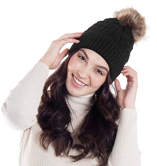 beed3c583bf AbbyLexi Faux Fur Winter Warm Knit Beanie Hat for Women