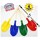 "Matty's Toy Stop 16.5"" Wooden Mini Sand Shovels for Kids with Plastic Spade (Red, Blue, Green & Yellow) Complete Gift Set Party Bundle - 4 Pack"