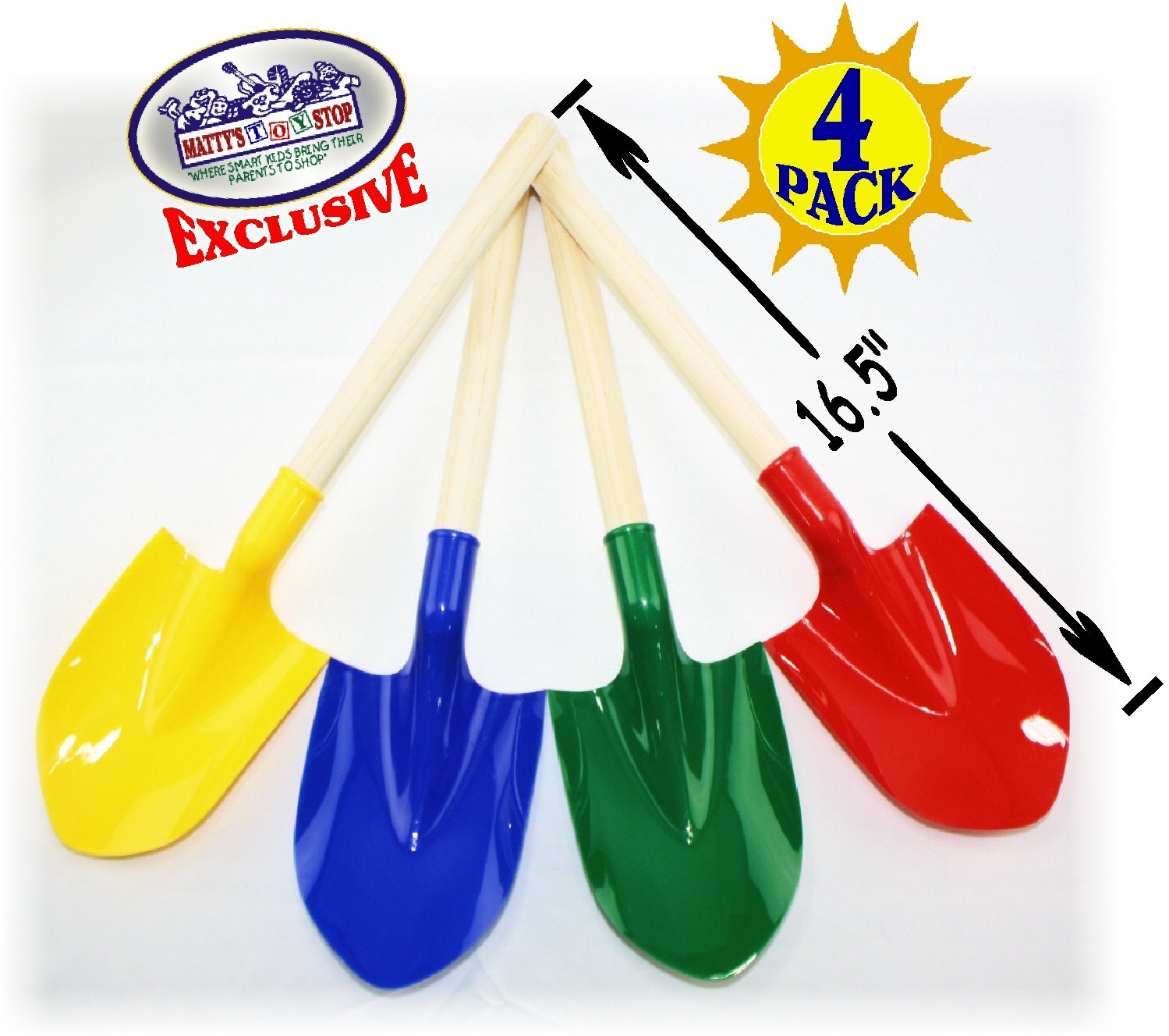 Matty's Toy Stop 16.5'' Wooden Mini Sand Shovels for Kids with Plastic Spade (Red, Blue, Green & Yellow) Complete Gift Set Party Bundle - 4 Pack