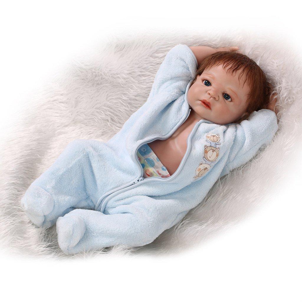 NPKDOLL Reborn Baby Puppe Hart Simulation Silikon Vinyl 22inch 55cm Magnetisch Mund lebensechte Nette Wasserdichte Kinder Spielzeug Blaues Kleid Mohair mit Acrylaugen A1DE