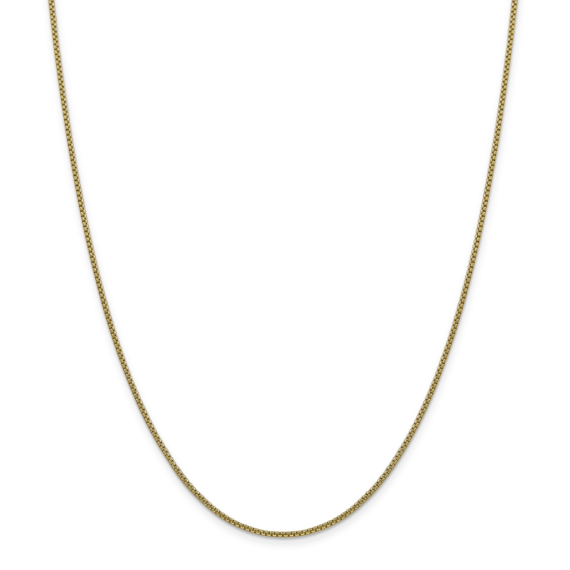 ICE CARATS 14k Yellow Gold 1.5mm Round Link Box Chain Necklace 16 Inch Fine Jewelry Gift Set For Women Heart