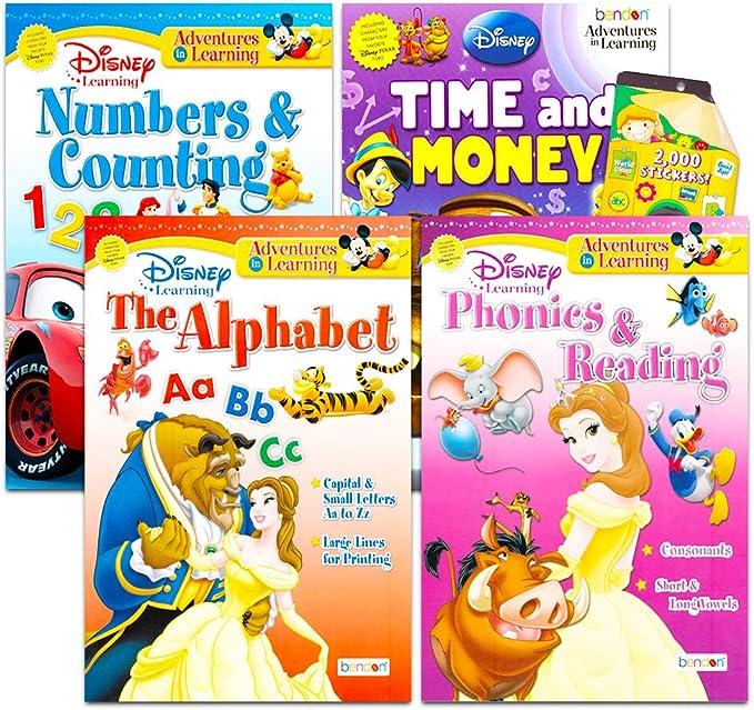 Amazon.com: Disney Workbooks Super Set Kindergarten First Grade -- Bundle  Of 4 Workbooks With Reward Stickers (Disney Alphabet, Reading, Time, Money,  Phonics, And More): Toys & Games