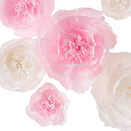 Amazon paper flower decorations handcrafted flowers pink paper flower decorations handcrafted flowers pink white set of 6 mightylinksfo Images