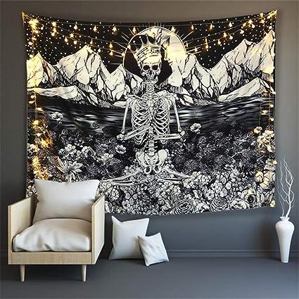 Huzi Meditación sobre el Esqueleto King Moon Tapiz en
