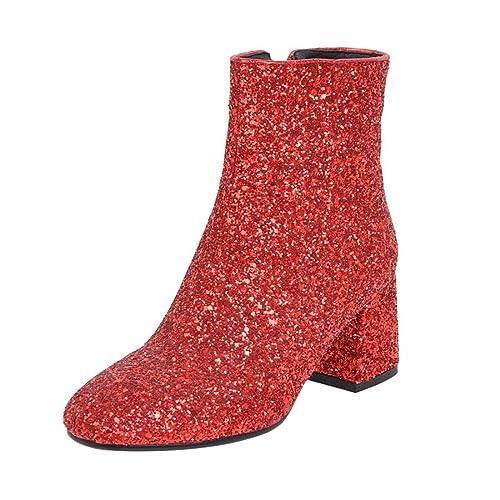 Damen High Und Boots Heels Ye Ankle Blockabsatz Stiefeletten Reißverschluss Pailletten Elegant Glitzer Modern Mit Schuhe jALc4qR35S