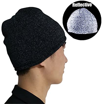3637519d8 Reflective Beanie High Visibility Warm Loop Knit Hats, Safety Soft & Cozy  Cap for Running Walking Cycling Jogging, Unisex Adult One Size for Man  Women ...