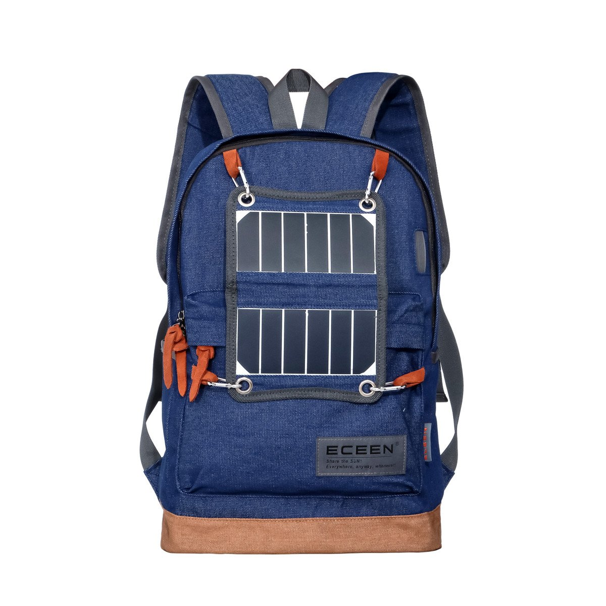 Hiking Daypack Lightweight Backpack with Solar Charger and LED Camping Light for Hiking, Blackouts, Camp-out, Rechargeable Power Bank for 5V USB-Charged Devices