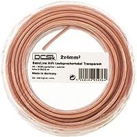 Câble d'Enceinte Transparent DCSk 10m - 2 x 4mm² | câble en cuivre OFC pour HiFi/Audio | câble de boîtier 99,99% cuivre avec Isolation