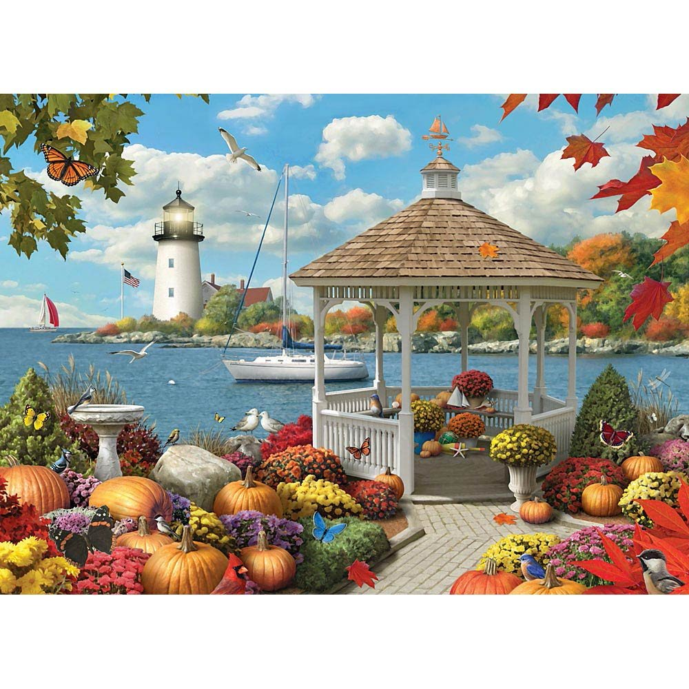 Bits and Pieces - 500 Piece Jigsaw Puzzle for Adults - Autumn Splendor - 500 pc Fall by the Water Jigsaw by Artist Alan Giana