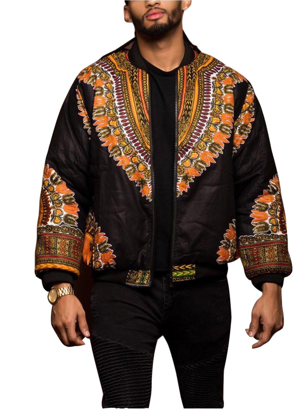 FEIYOUNG Men Floral Printed Dashiki Jacket Long Zipper up Coat