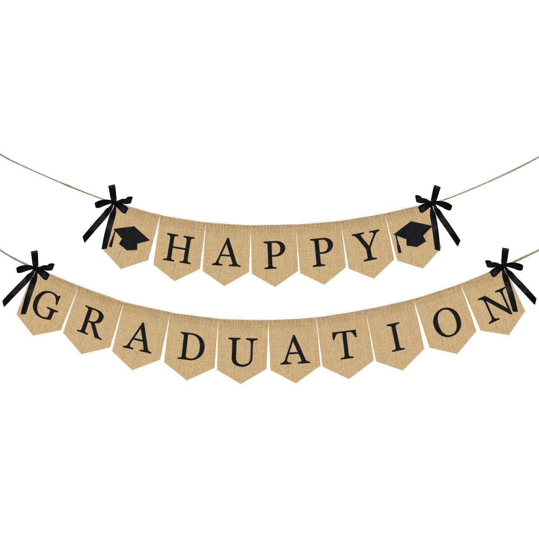 Burlap Happy Graduation Banner | Rustic Vintage Graduation Decorations | Perfect for Graduation Party Supplies 2019 | Grad Party Decor for Home, College, Senior, High School Prom Decorations
