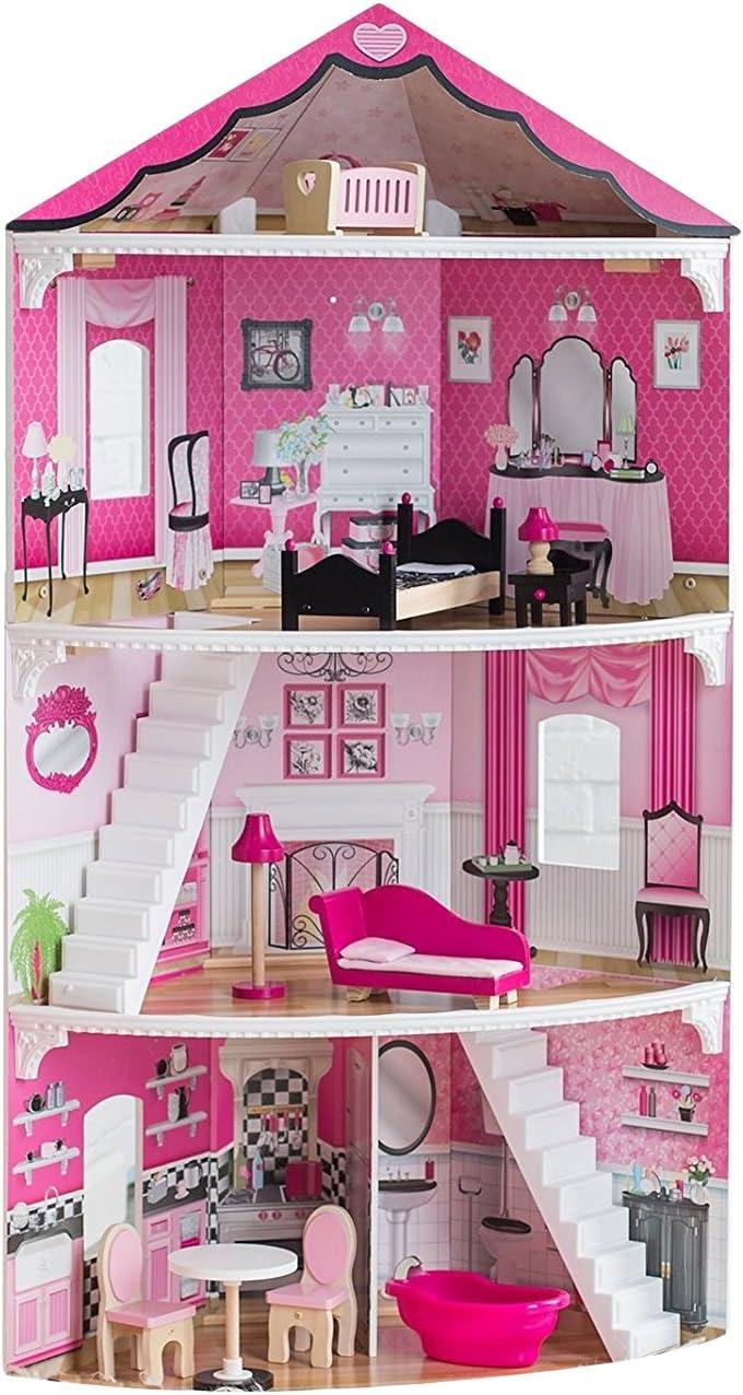 Amazon.com: KidKraft Think Pink Corner Doll House Playset: Toys ...