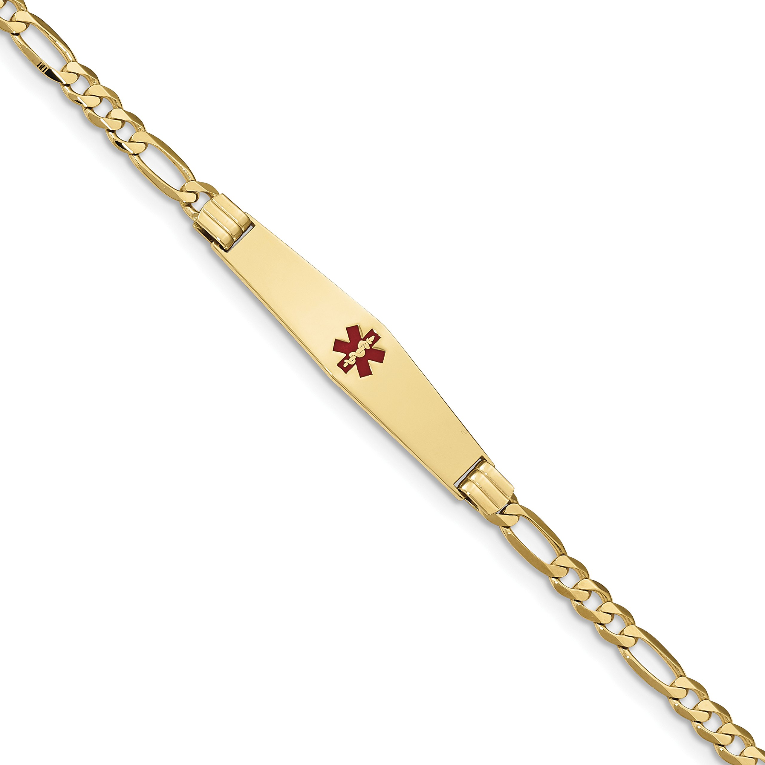 ICE CARATS 14k Yellow Gold Medical Soft Red Enamel Link Figaro Id Bracelet 8 Inch Fine Jewelry Gift Set For Women Heart