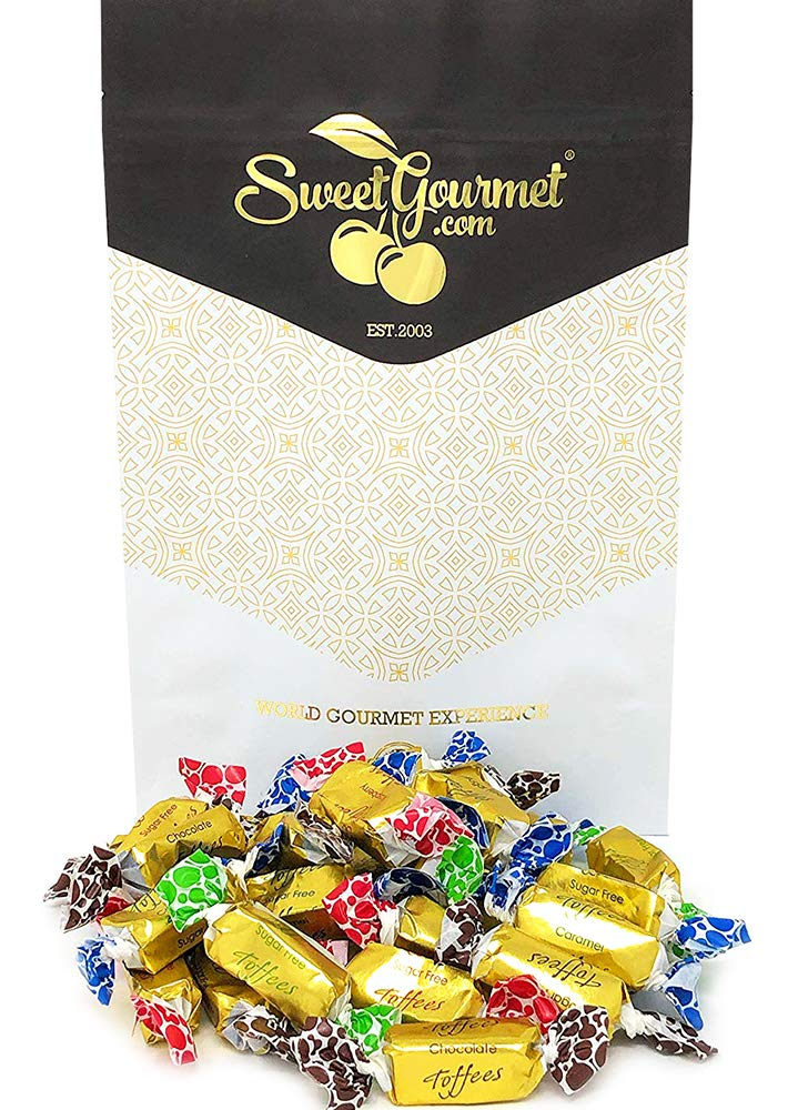 SweetGourmet Sugar Free Toffee Rolls | Chocolate, Caramel, Raspberry, Butter Rum | Kosher Gold Foil Wrapped | 1 Pound by SweetGourmet