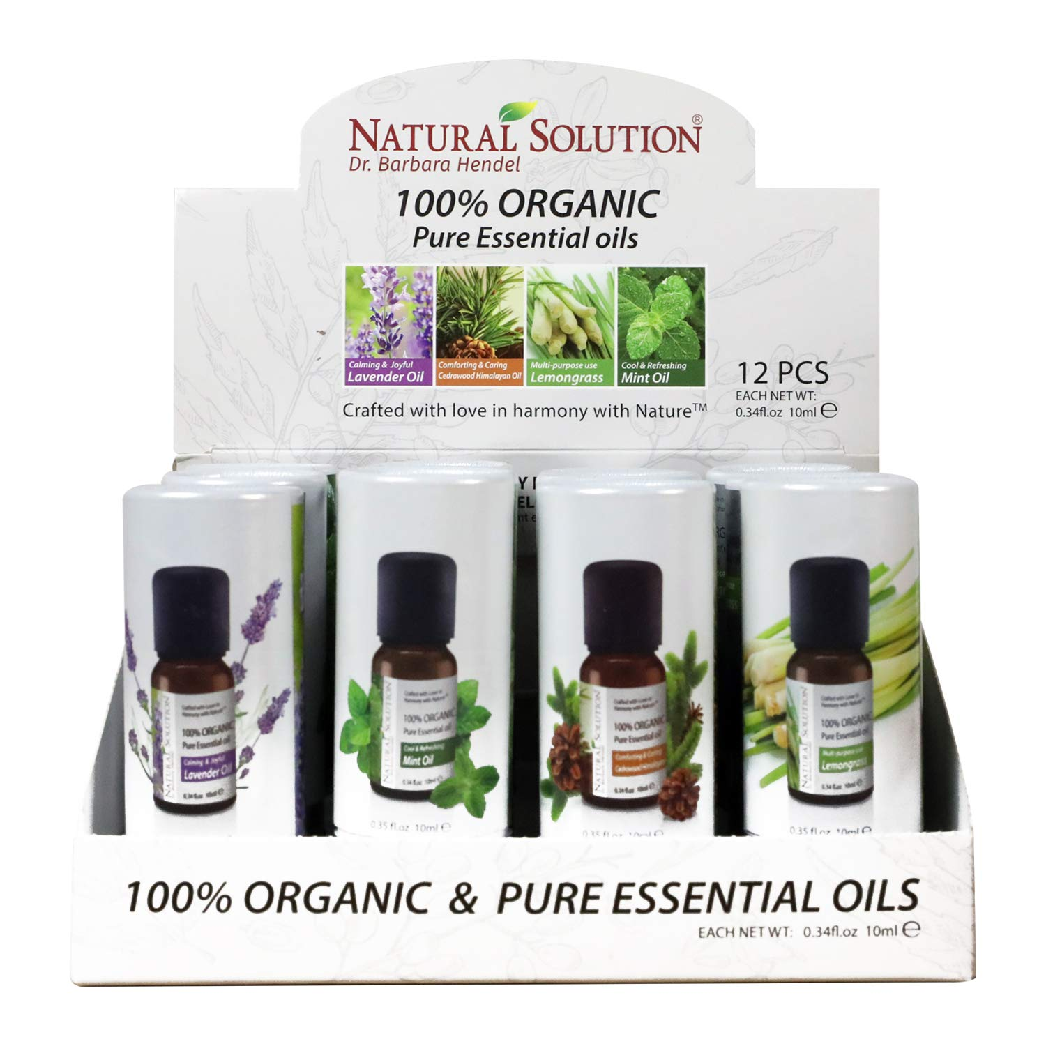 Top 4 Organic Essential Oils Display Set   Lavender Oil, Cedrawood, Mint Oil, Lemongrass   3 Each, 12 in a Case Box