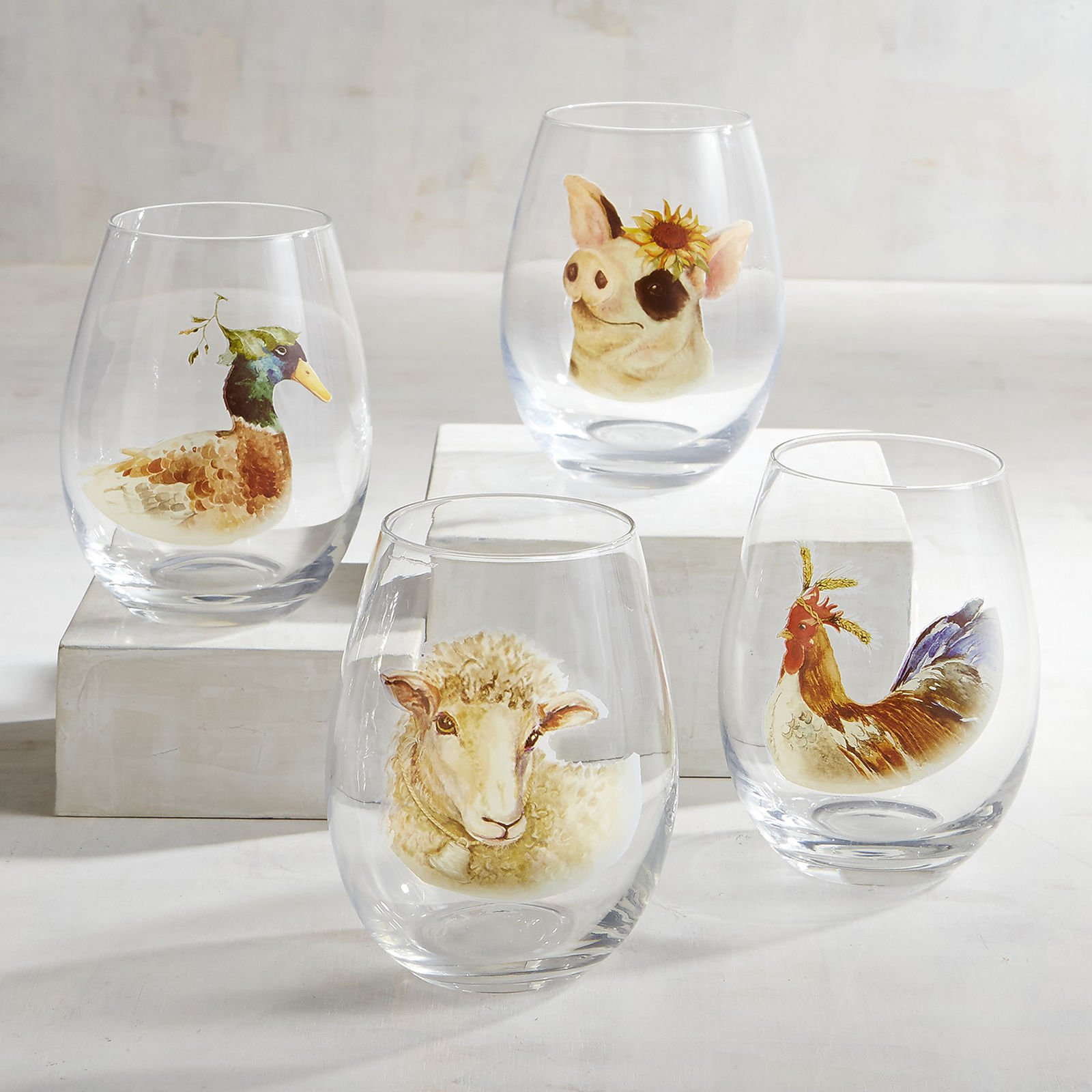 New 4pc Set Farm Animals Duck Pig Rooster Sheep Hand Painted Stemless Wine Glasses