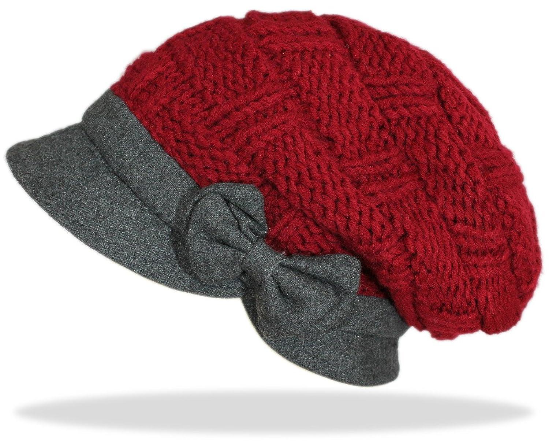 dy_mode Damen Strick Mütze Schirmmütze mit Schleife in viele Farben / Bunte Strickmütze Wintermütze - A049