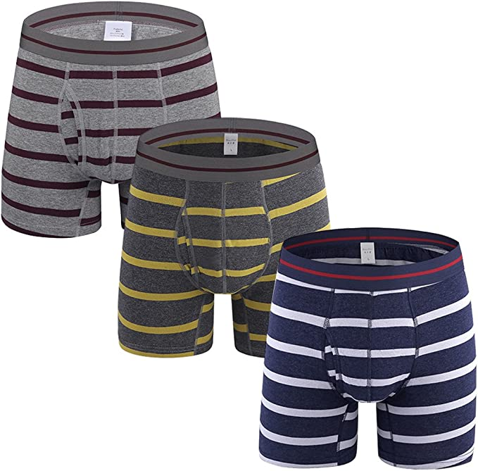 5 Pack SLJ Mens Cotton Stretch Striped Boxer Briefs Underwear with Open Fly