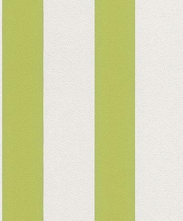 Vliestapete Streifen Gestreift Weiss Grun Tapete Rasch Prego 700213