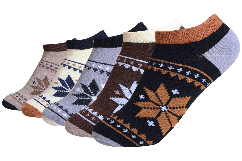 QBSM 5 Pares Sneaker Calcetines Cortos para Hombre Respirable Algodon Rayas Colores Para Verano tallas 39
