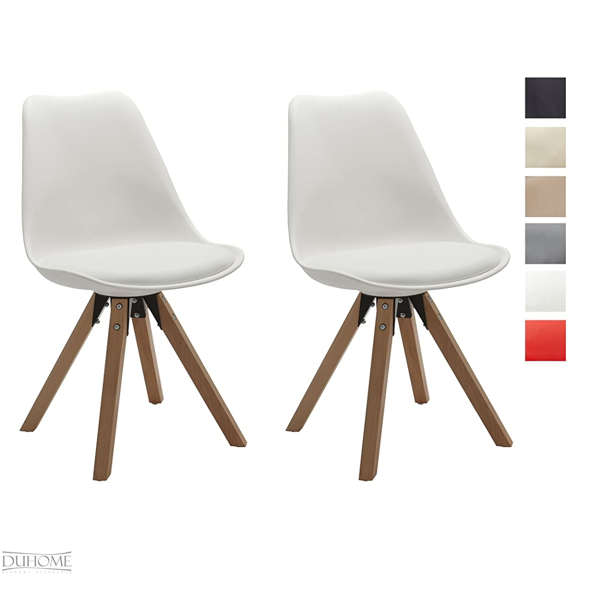 Duhome 2 Pcs Retro Dining Chairs Eames Style Side Chair Synthetic Leather Seat Cushion WY-518M (White)
