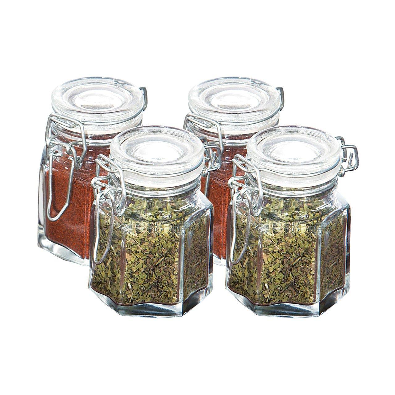 set of 24 glass clip top vintage spice storage jars amazon co uk
