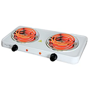 MegaChef Electric Easily Portable Ultra Lightweight Dual Coil Burner Cooktop Buffet Range in White