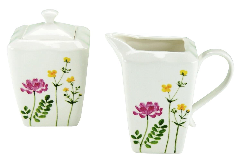 2-Einheiten Serie Eva Wiesenblumen Mehrfarbig 19 x 14.1 x 12.8 cm Creatable 19617 Porzellan Milch-Zucker Set 2 teilig