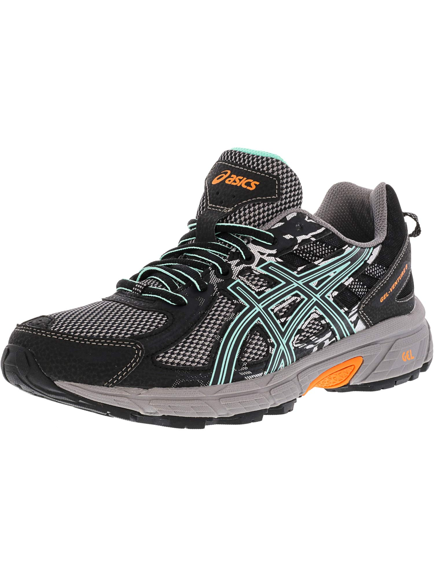 ASICS Women's Gel-Venture 6 Running Shoe, Black/Ice Green/Orange, 10 M US