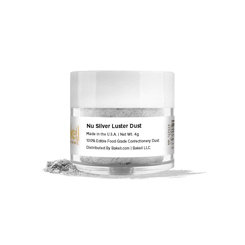 BAKELL Nu Silver Edible Luster Dust & Paint, 4 Gram   LUSTER DUST Edible Powder   KOSHER Certified Paint, Powder & Dust   100% Edible & Food Grade  Cakes, Cupcakes, Vegan Paint & Dust (Nu Silver)