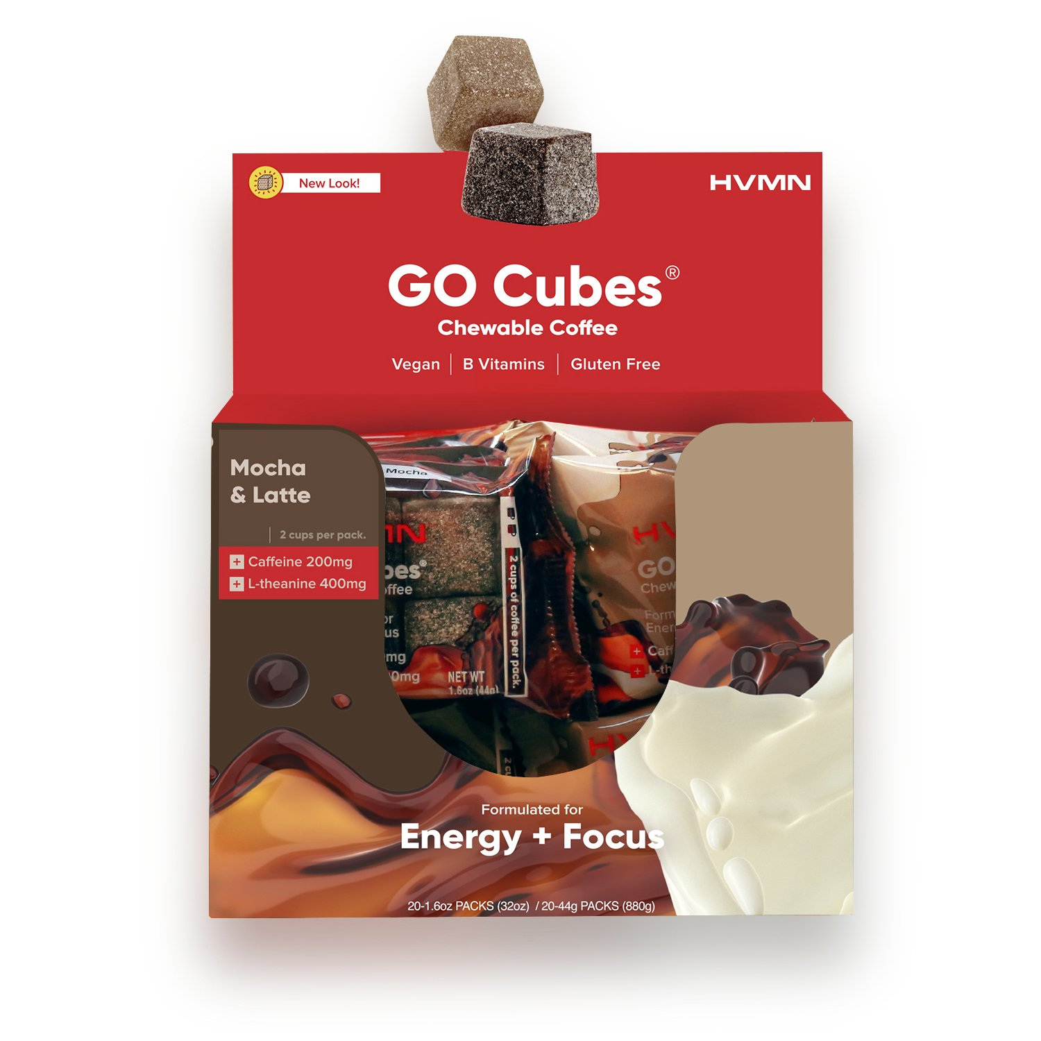 GO CUBES Energy Chews, Duo Latte and Mocha Flavors, 4 count chews (20 Pack)