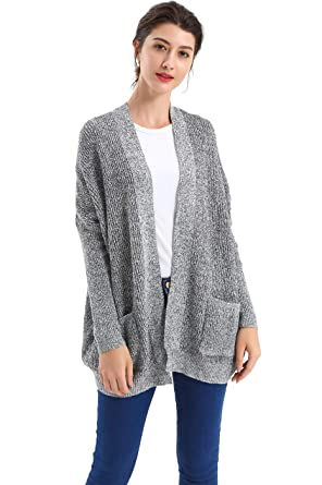 4f36e2b0711 BodiLove Women s Oversize Relax Fit Slouchy Ribbed Knit Cardigan Black  S(11194)