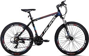 Hiland 26'' Aluminum Mountain Bike with Quick Release Wheels Disc-Brake Kickstand 24 Speeds,16.5/18 /19.5 Frame Size