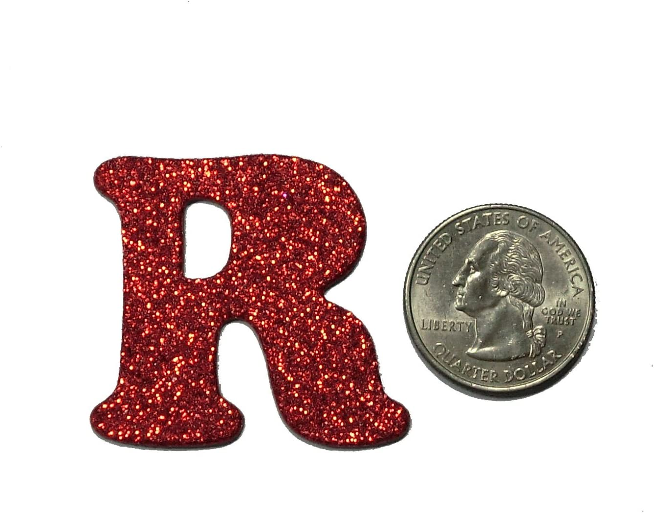 Red Metallic Glitter HandCut Chipboard Letters Alphabet set Sickers 1.5 Cooper Font Uppercase
