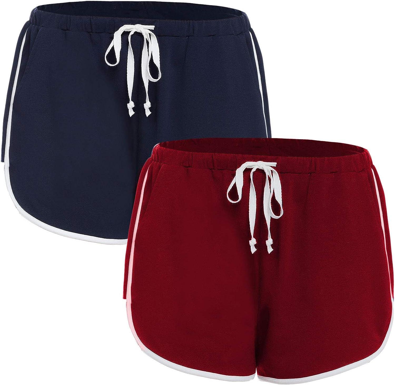 iClosam Pantaloncini Donna Pantaloni Corti Pigiama Pantaloncini Sleep di Cotone 100/% Sportivi Pantaloni per Yoga Sport Palestra