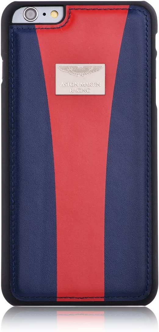 Amazon Com Aston Martin Racing Black Leather Back Case For Iphone 6 Plus Navy Red