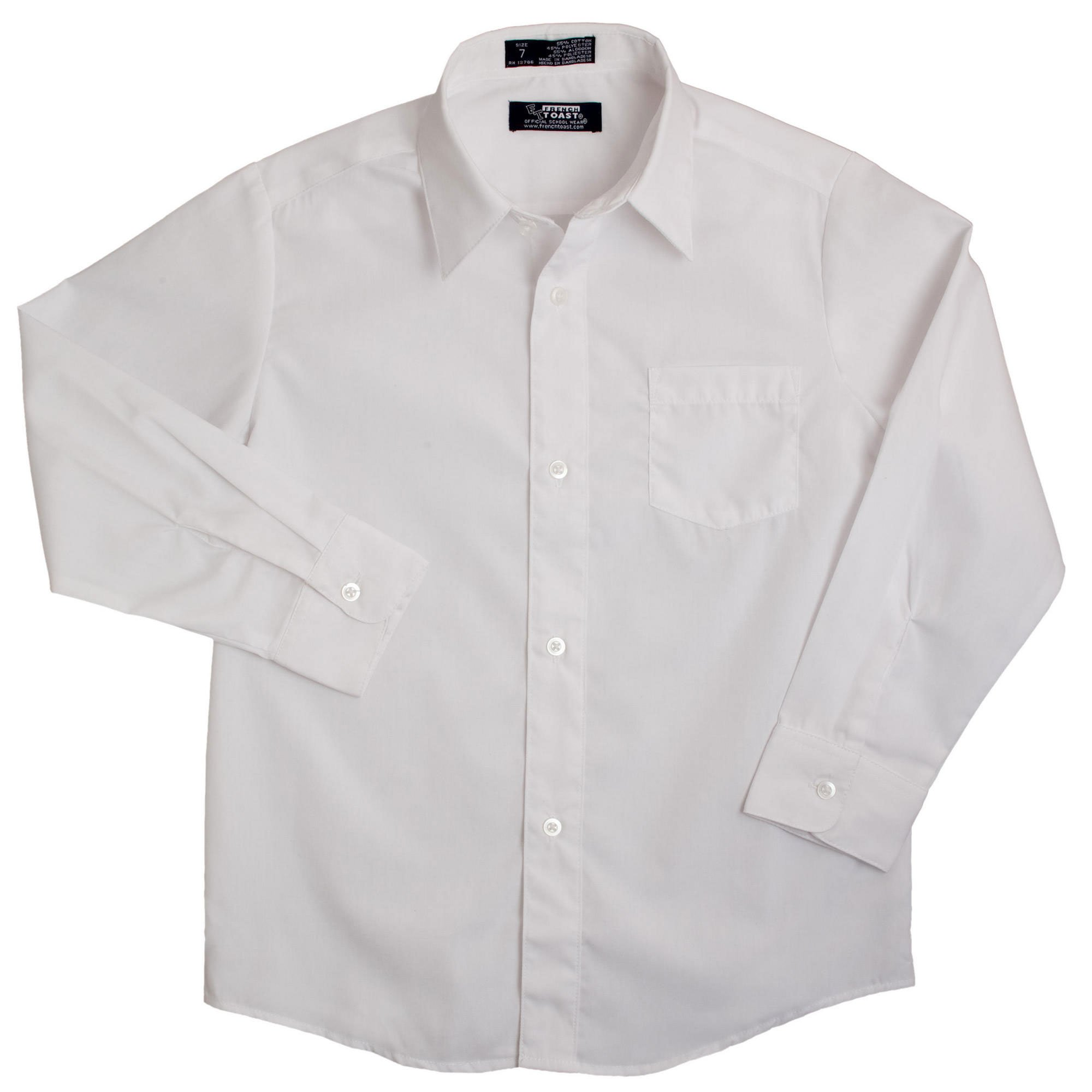 French Toast School Uniform Boys Long Sleeve Classic Dress Shirt, White, 8