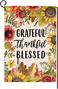 Fall Thanksgiving Saying Garden Flag Vertical Double Sided Farmhouse Autumn Sunflower Burlap Yard Outdoor Decor 12.5 x 18 Inches (Grateful Thankful Blessed)