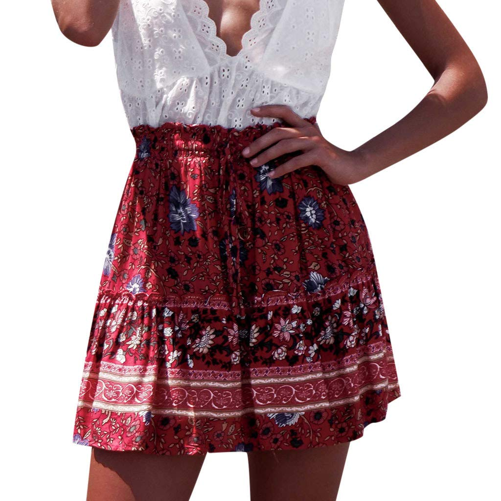 TWGONE Aline Skirts For Women Above Knee Length Sexy Printting High Waist Hip Short Mini Skirt(X-Large,Red)