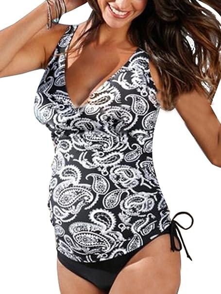 7e331f0f5 Summer Mae Tankini Floral Halter Embarazo Traje de Baño Dos Piezas de  Maternidad para Mujer  Amazon.es  Ropa y accesorios