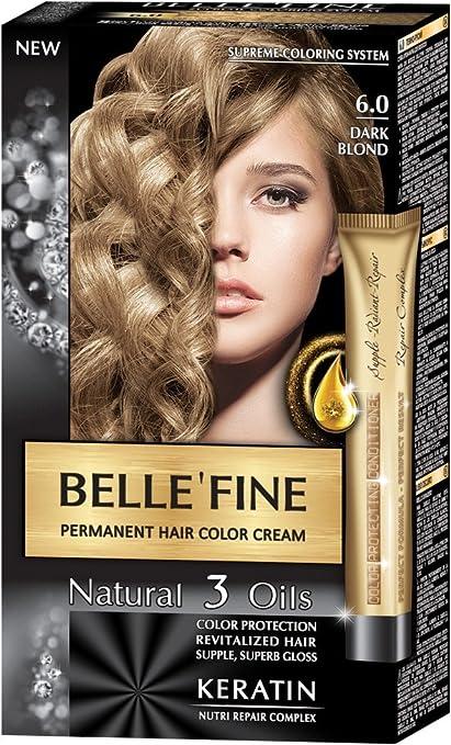 BELLEFINE® - Black Series - Tinte permanente natural - Con 3 aceites y queratina - Rubio oscuro