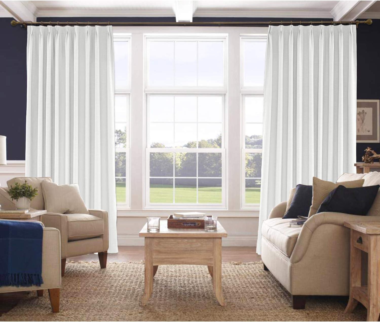 Pinch Pleat Linen Window Curtains Classic Brown Room DARKENING Drape 4 sizes