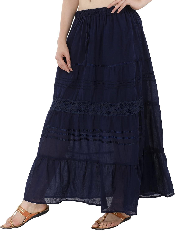 b67c43d8b598 SKAVIJ Maxi gonne Floreali da Donna con Gonna a Balze con Ricamo Floreale a  Vita Alta: Amazon.it: Abbigliamento